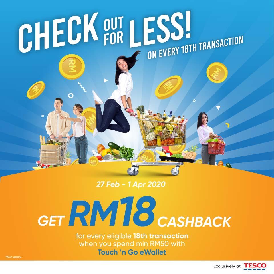 Touch N Go Ewallet Tesco Rm18 Cashback Promotion Mypromo My