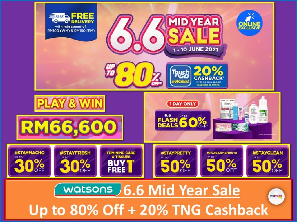 Watsons 6.6 Mid-Year Sale from 1-10 June 2021