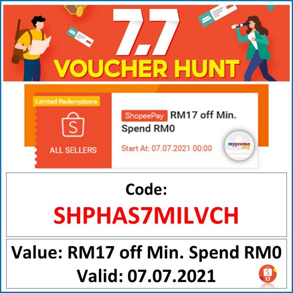 Shopee 7.7 - Voucher Hunt Code-RM17 Off Voucher