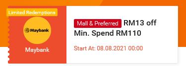 Shopee 8.8 x Maybank Voucher Code RM13 Off