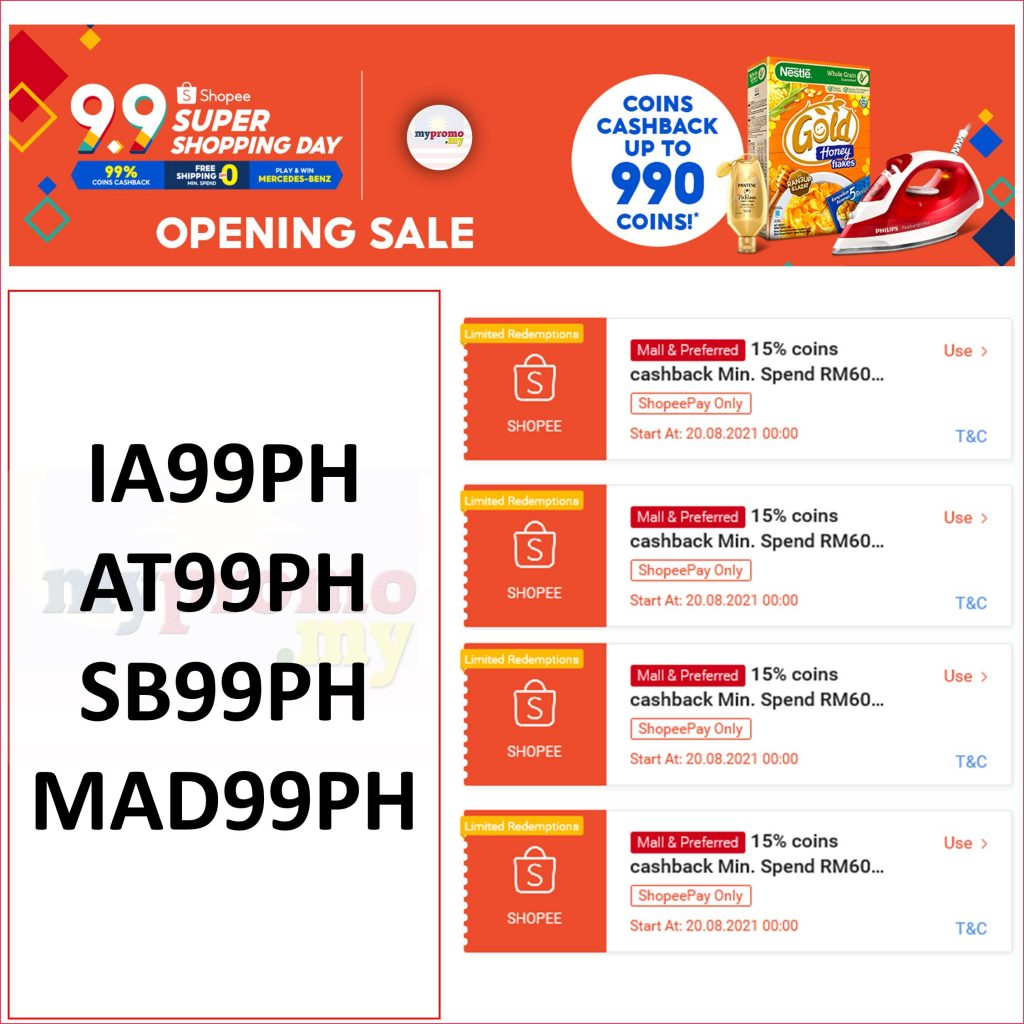 Shopee 9.9 Super Shopping Day Opening Sale Voucher Codes