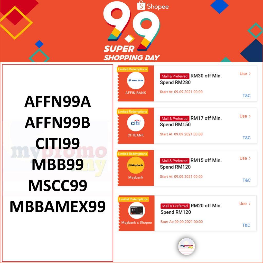 Shopee 9.9 Affin Bank Voucher Code RM30 Off