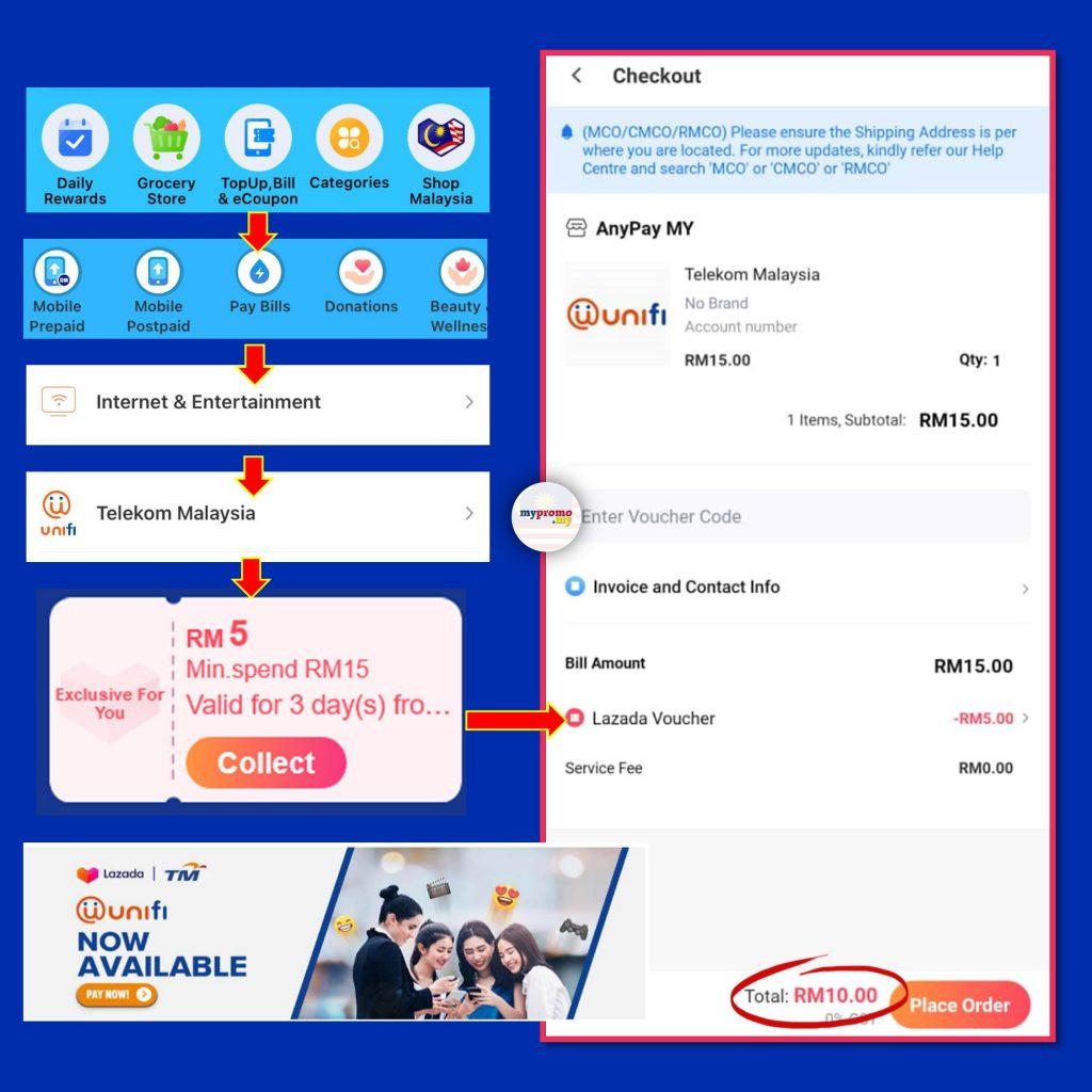 Get RM5 off your Unifi Bill via Lazada