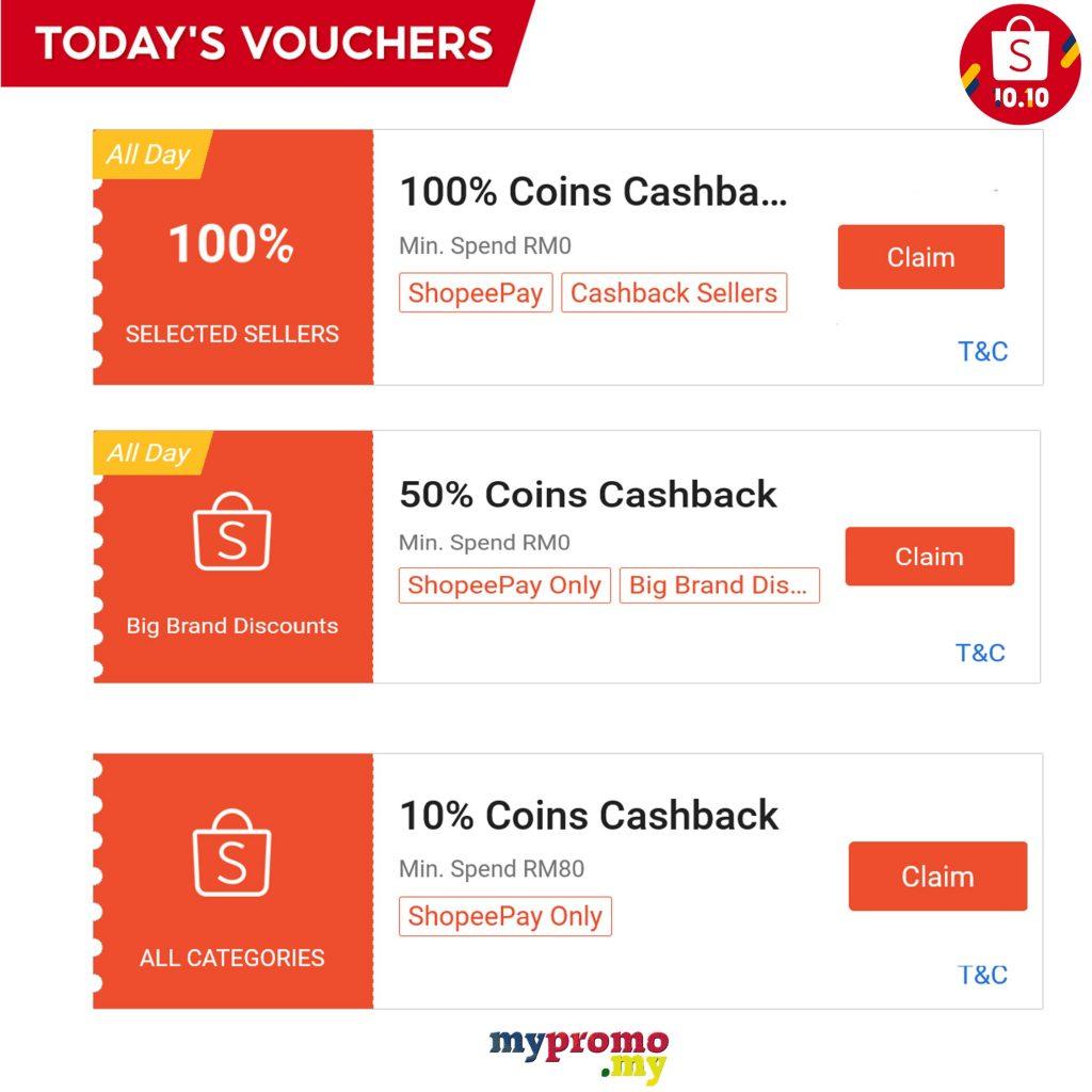 Shopee 10.10 - Claim Everyday Vouchers