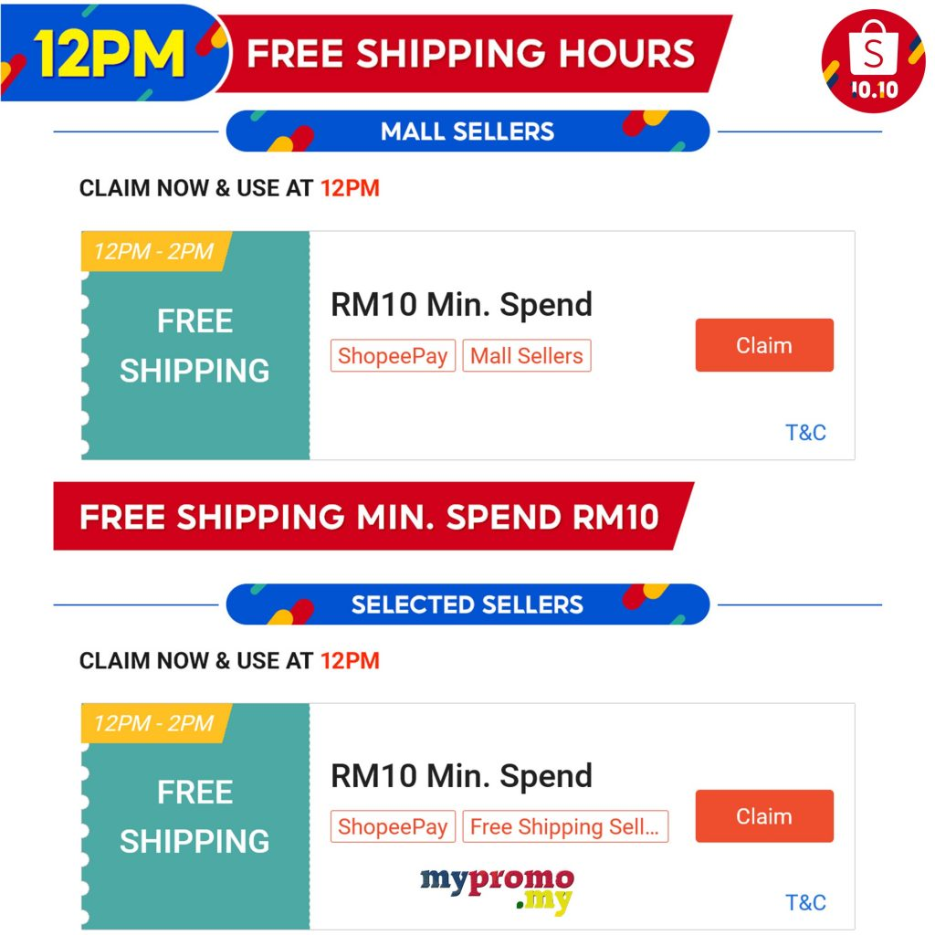 Shopee 10.10 - Free Shipping Voucher 12pm