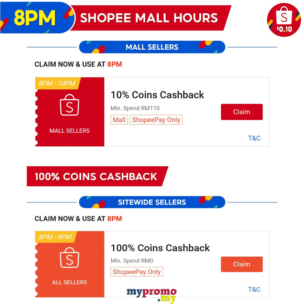 Shopee 10.10 - 100% Coins Cashback at 8pm
