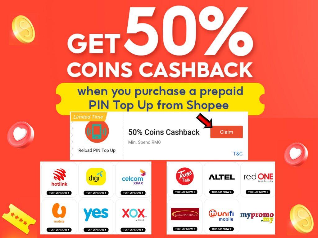 Shopee Prepaid Top Up - 50% Off Voucher