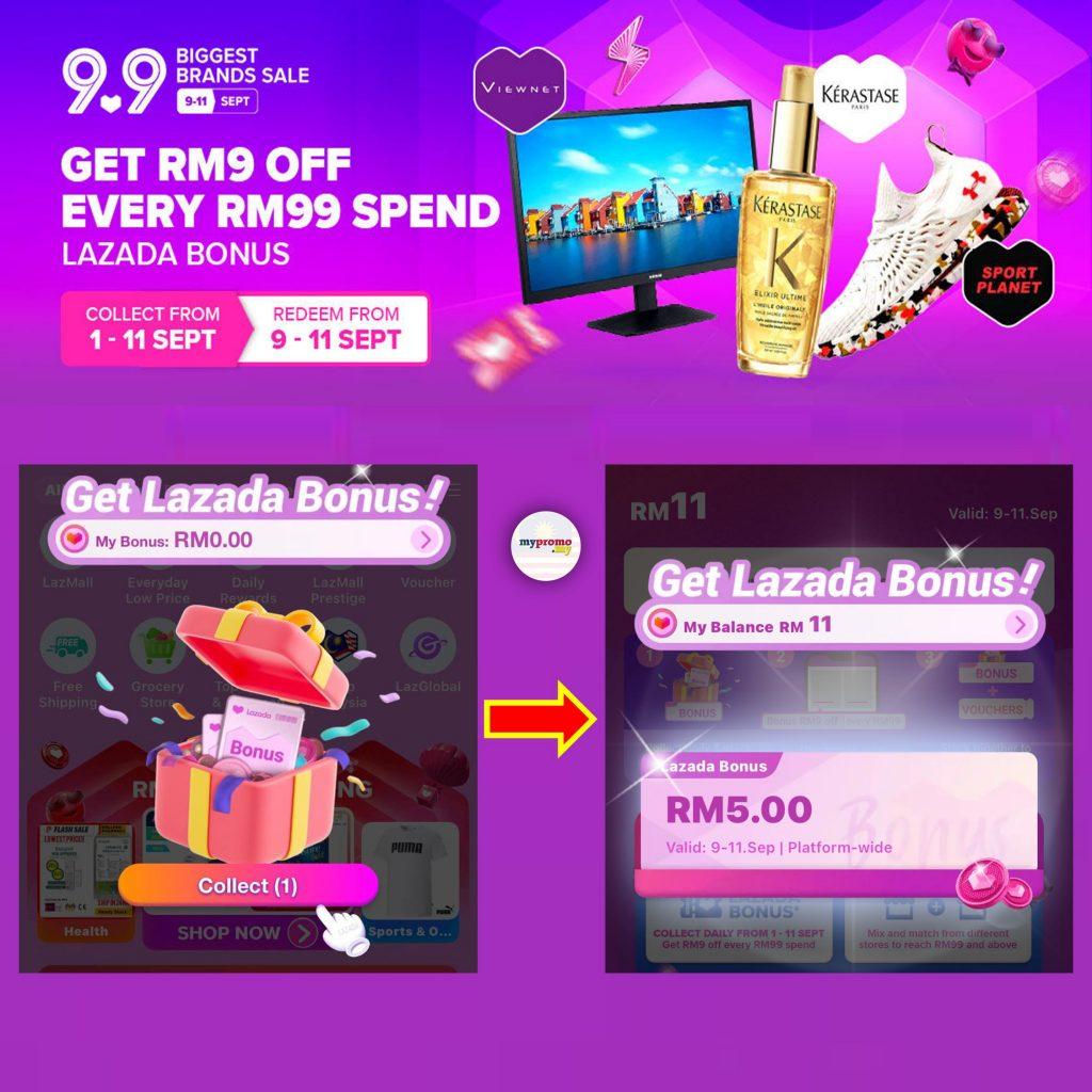 Lazada 9.9 Sale Bonus - Get RM9 every RM99 Spend
