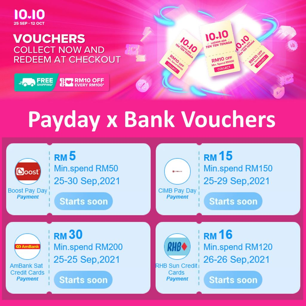 Lazada 10.10 Payday Bank Vouchers