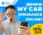 PolicyStreet: Renew Car Insurance Online Today – Enjoy up to 15% + Freedelivery for Roadtax