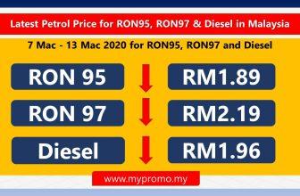 Latest Petrol Price for RON95, RON97 & Diesel in Malaysia (7 Mac – 13 Mac 2020)
