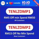 Lazada 10.10 Exclusive Vouchers – Get Up to RM20 Off