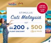 Malaysia Airlines: Claim up to RM200 Stimulus Cuti Malaysia