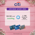 Citibank Online Exclusive Offer! Get RM200 Touch 'n Go or GrabPay credit + 3-year Annual Fee Waiver