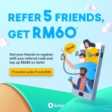 Setel: Refer 5 friends & get RM60 petrol credit