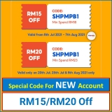 Shopee Voucher Code for New User – Enjoy up to RM20 Discount