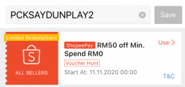 Shopee 11.11 Special Voucher Code Worth RM50