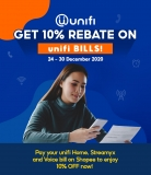 Shopee: Pay Unifi Bills Get 10% Rebate