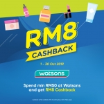 Spend minimum RM50 with Touch 'n Go eWallet at Watsons and get RM8 cashback