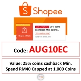 Special Shopee Voucher Code AUG10EC for August – Worth 1000 Coins