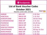 foodpanda: Bank Promo/Voucher Codes for October 2021