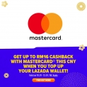 Top up your Lazada wallet this Chinese New Year and get up to RM16 cashback with mastercard!