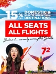 MAS Airlines: 72 hours only. 15% off all seats.